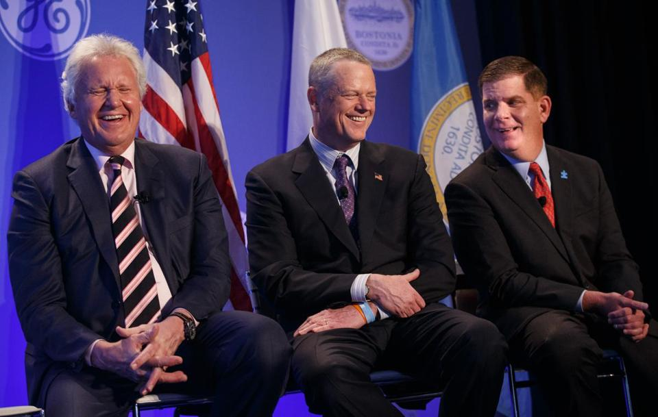 Jeff Immelt, right, shared a laugh with Governor Charlie Baker, center and Boston Mayor Martin J. Walsh in April 2016.